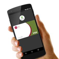 hand holding smartphone with rbcu android pay logo