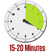 clock image showing 15 to 20 minute block of time