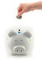 coin into piggy bank