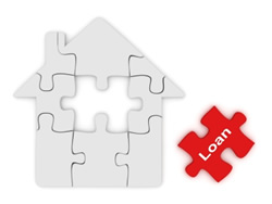 house shaped puzzle with loan puzzle piece