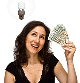 woman holding cash with lightbulb over head