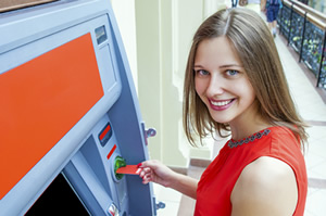 woman in front of ATM